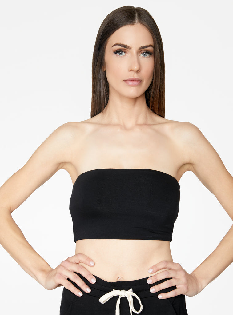 HeyYou Basic Black Bandeau Crop Top
