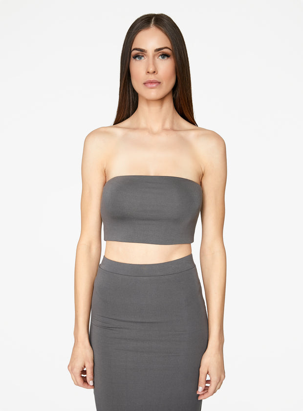 HeyYou Basic Slate Bandeau Crop Top