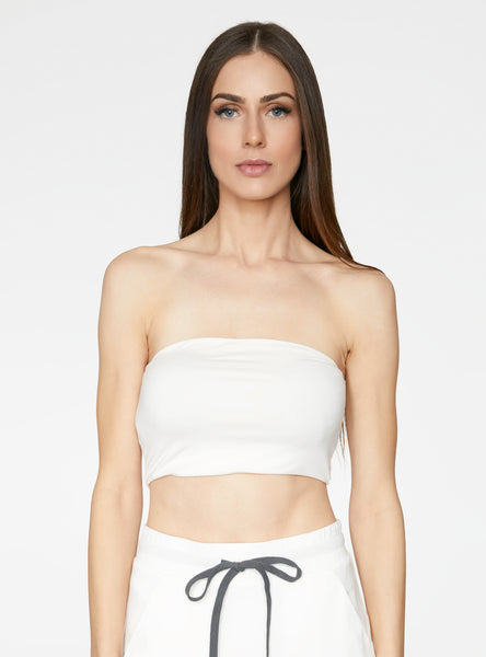 HeyYou Basic Creme Bandeau Crop Top