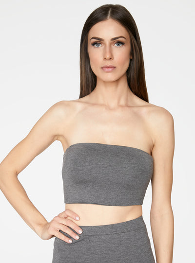 HeyYou Basic Heather Grey Bandeau Crop Top