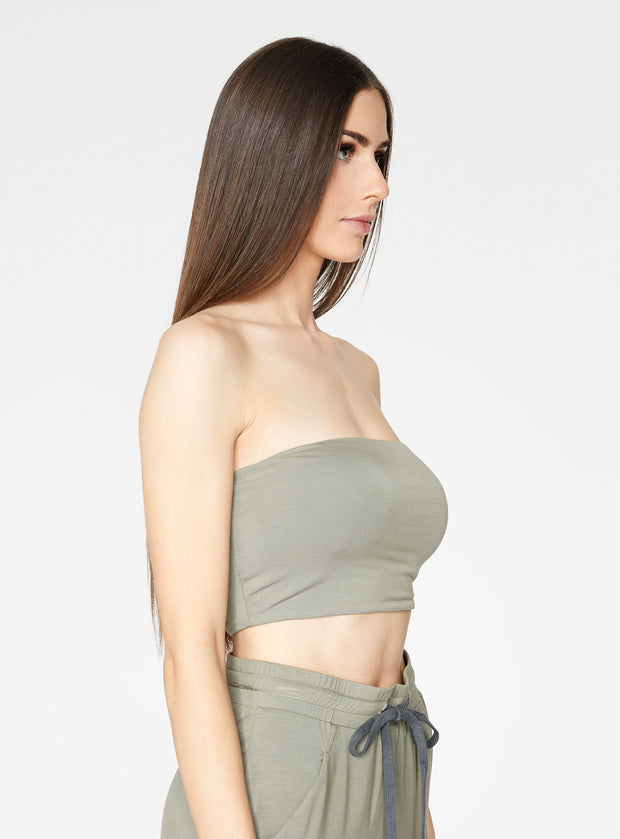 HeyYou Basic Sage Bandeau Crop Top