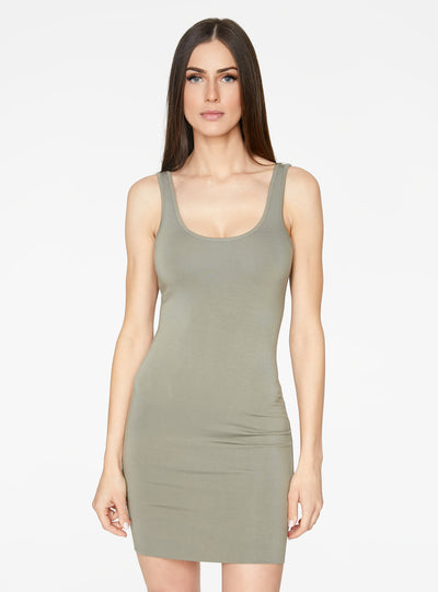 HeyYou Basic Sage Tank Mini Bodycon Dress