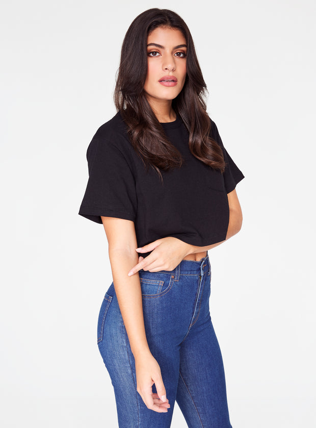 HeyYou Basic Cropped Pocket Tee in Black