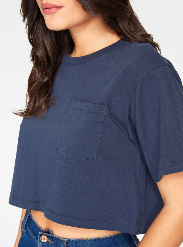 HeyYou Basic Cropped Pocket Tee in Night Sky