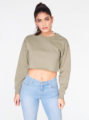HeyYou Basic Sage Cropped Sweatshirt