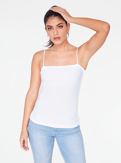 HeyYou Basic White Straight Neck Tank Top