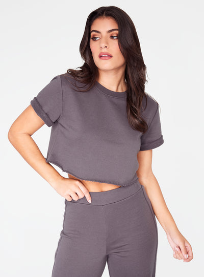 HeyYou Basic Cropped Knit in Dark Grey