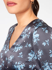 Blue Floral Long Sleeve Cropped Blouse