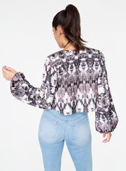 Snake Print Long Sleeve Cropped Blouse