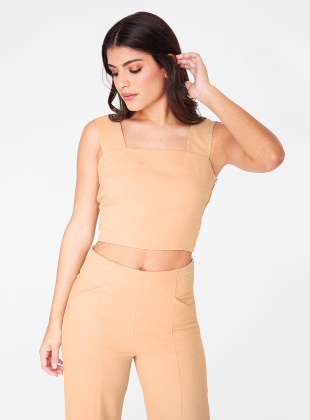 Camel Straight Neck Crop Top