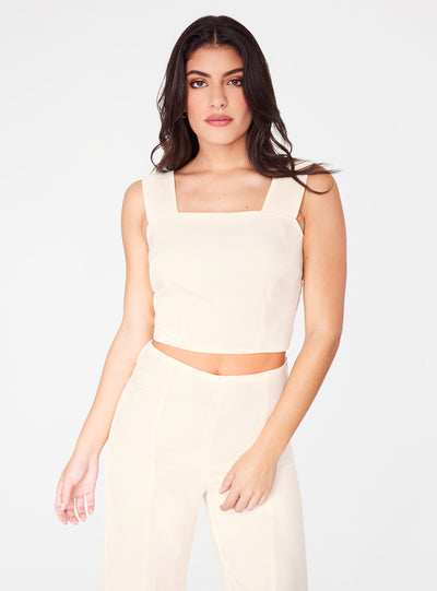Creme Straight Neck Crop Top