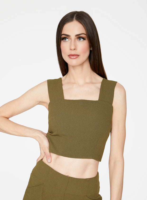 Olive Straight Neck Crop Top