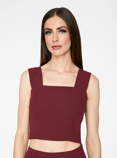 Wine Straight Neck Crop Top