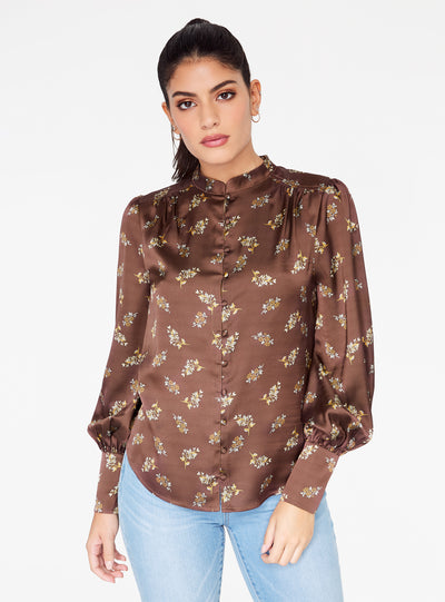 Mandarin Collar Button Up Top in Brown Floral