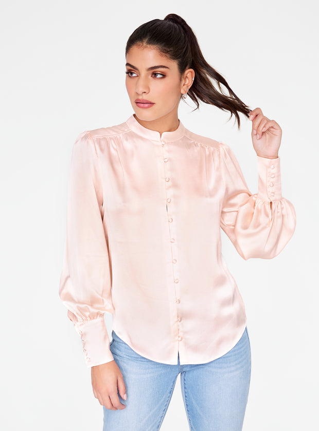 Mandarin Collar Button Up Top in Ivory