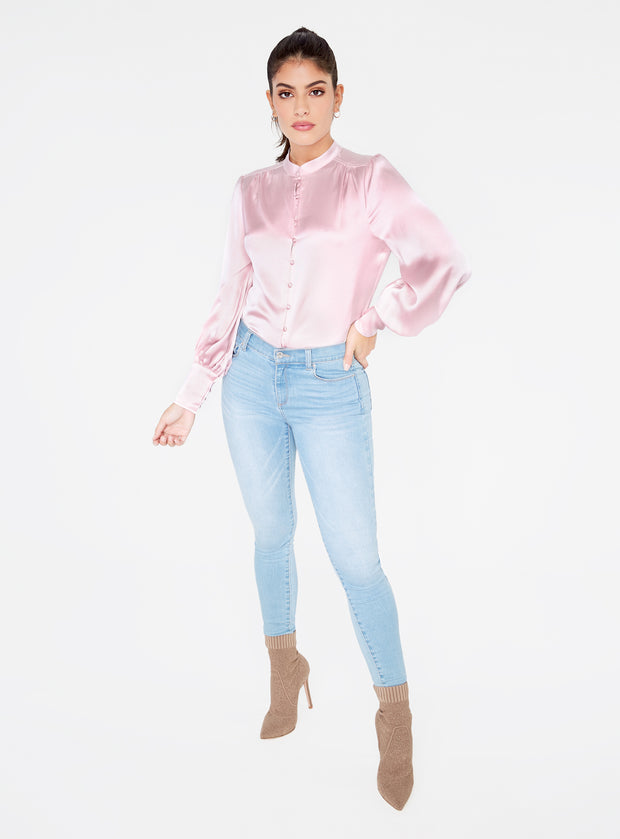 Mandarin Collar Button Up Top in Orchid Pink