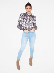 Mandarin Collar Button Up Top in Snake Print