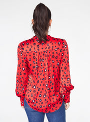 Mandarin Collar Button Up Top in Red Cheetah