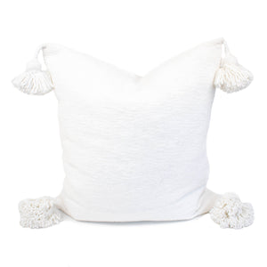 White Moroccan Pom Pom Pillow Cover | Kristi