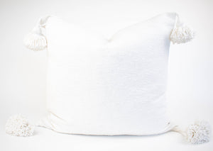 White Moroccan Pom Pom Pillow Cover | Em