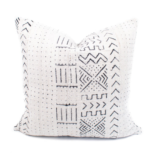 Cream African Mudcloth Pillow Cover | Catherine