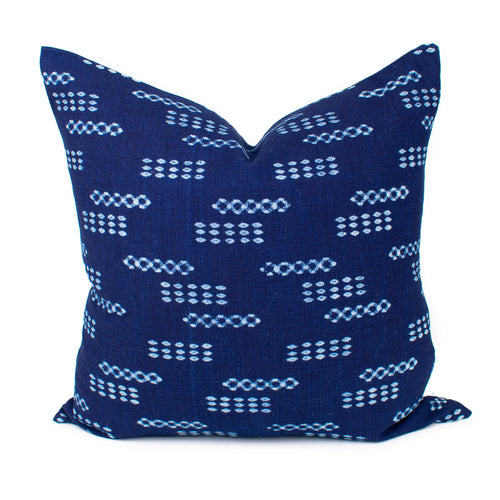 Thai Blue Dots Block Print Pillow Cover | Avery