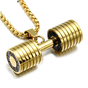 Gold Go Fit Dumbell Necklace