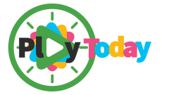 Green, pink, yellow and blue Logo in a playful font that says Play Today, with a sideways triangle to imply the play button on a device