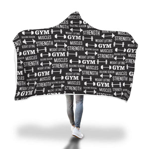 """Gym"" Themed Hoodie Blanket"