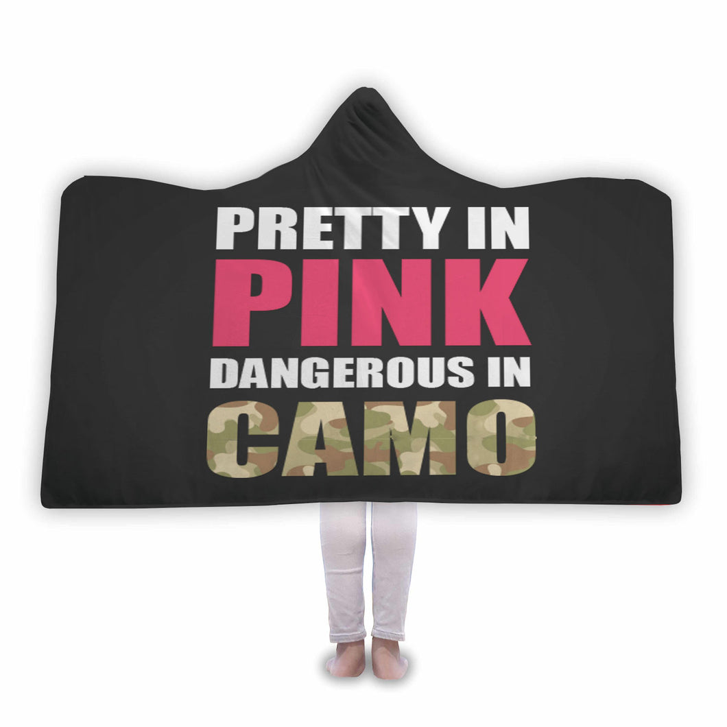 Pretty In Pink Dangerous in Camo - Hooded Blanket