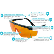 UV Light Safety Glasses – Yellow UVC Protective Goggles - ANSI Z87.1, CE – UV 400 - Tool Klean