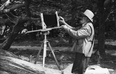 Ansel adams adjusting his large format camera
