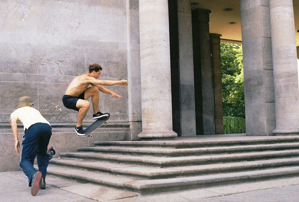 film photo of skateboarder