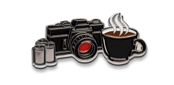 ShootFilmCo Coffee and Camera Pin | Analogue Wonderland
