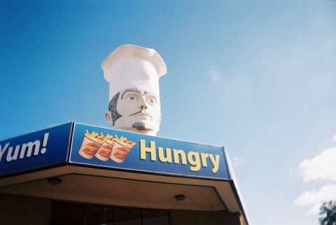 Film photo of hungry head shot on agfaphoto vista plus iso 400 35mm colour film