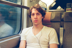 Photo of man on train taken on Kodak colour APS film