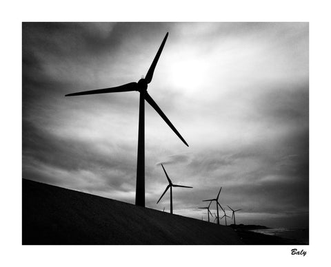 sample photo taken on ilford hp5 4x5 sheet film large format - windturbines