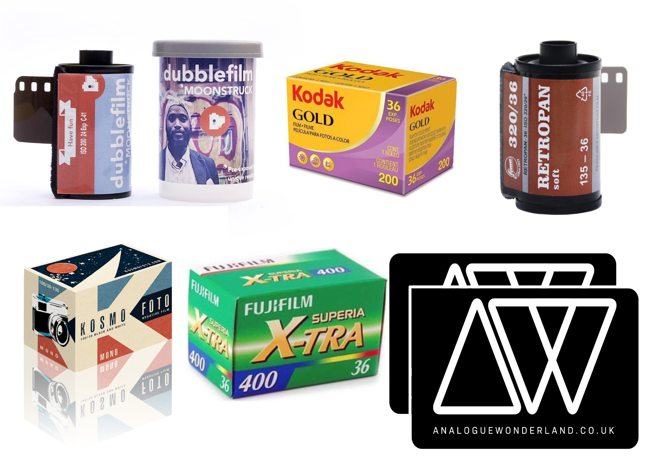 overview of some of the 35mm films available to buy at Analogue Wonderland