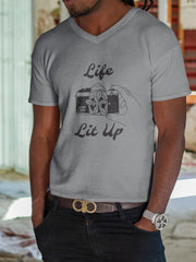Unisex V-Neck T-Shirt for Film Photographers - Life Lit Up - Analogue Wonderland