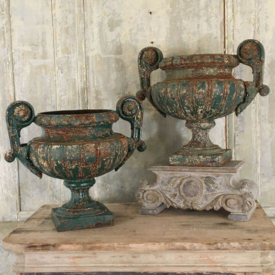 PAIR OF 19TH CENTURY CAT IRON PEDESTAL URNS