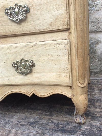 LOUIS XV  18th Century BLEACHED OAK COMMODE
