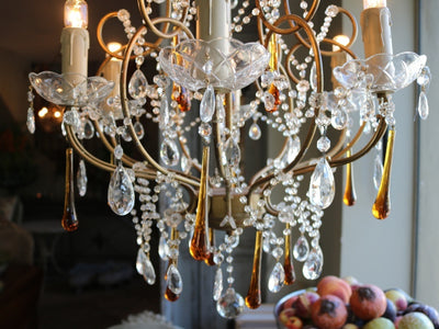 French 1940s Beaded Chandelier