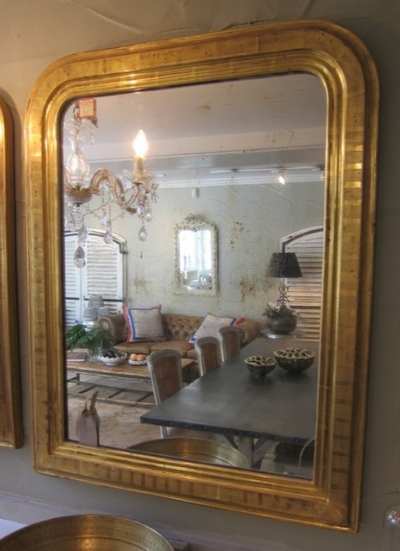 French Salon Mirror with Stripe Detail