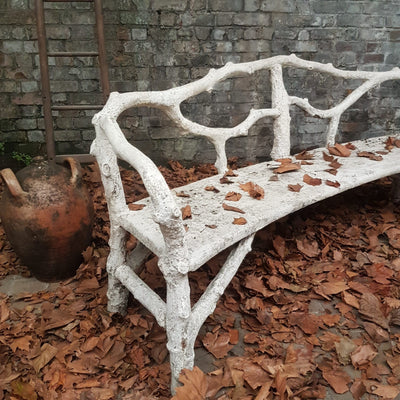 FRENCH ANTIQUE FAUX BOIS BENCH
