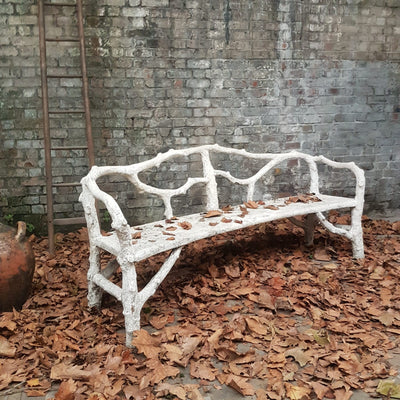 FRENCH ANTIQUE FAUX BOIS BENCH SOLD