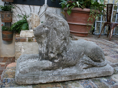 Pair of Crouching Lions