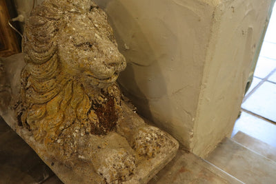 Pair of composite stone Lions SOLD