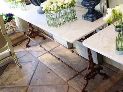 FRENCH BAR TABLE WITH RED CAST IRON BASE SOLD