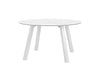 Floor Stock  Discus Dining Table IN WHITE WITH GLASS TABLE TOP