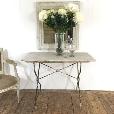 19TH CENTURY ANTIQUE BISTRO TABLE WITH CAST IRON BASE